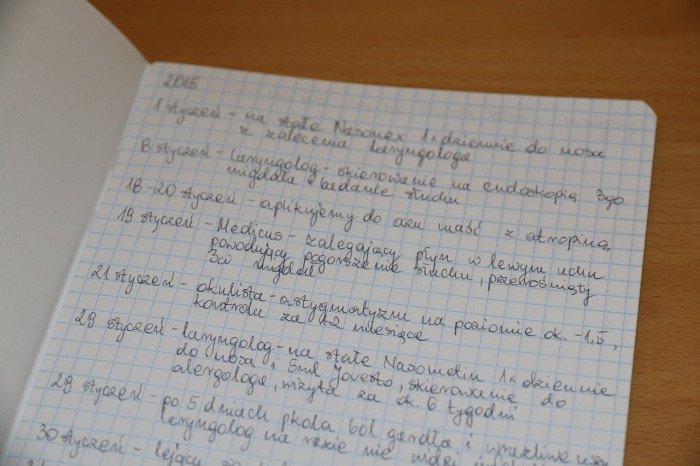 zeszyt nawizyty ulekarzy, dawkowanie leków, opisy objawów