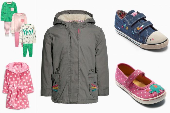 Next: piżamki, szlafrok, parka, tenisówki, balerinki