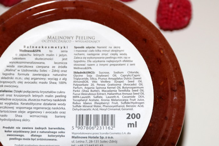 Balneokosmetyki: malinowy peeling dociała, skład