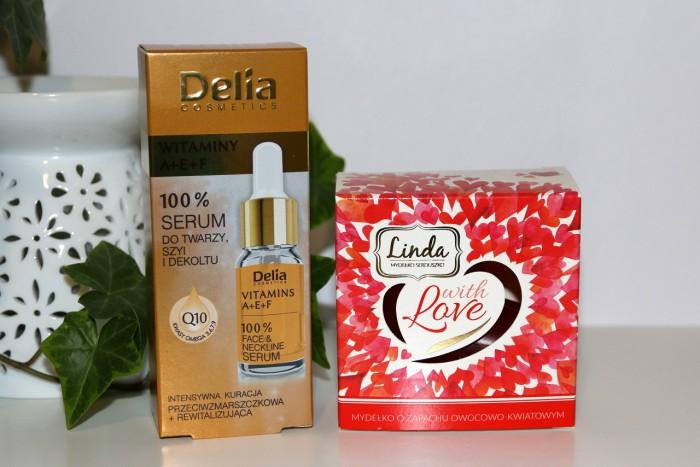 witaminowe serum dotwarzy, szyi idekoltu Delia, walentynkowe mydełko Linda