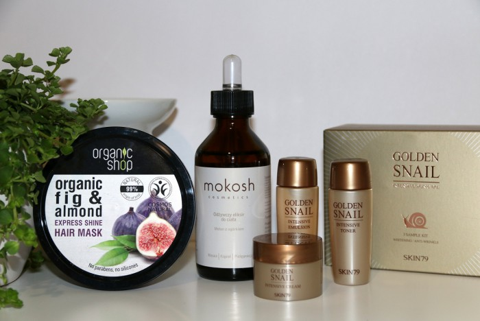ChillBox: maska do włosów Organic Shop, eliksir ogórkowy Mokosh, mini set ślimakowy Skin79