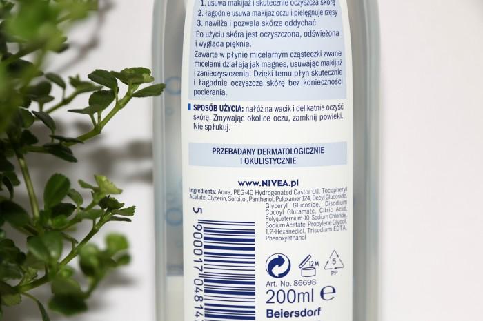 Nivea: pielęgnujący płyn micelarny dla cery normalnej imieszanej, skład