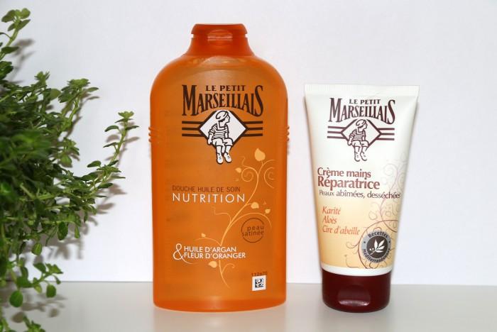 Le Petit Marseillais: olejek podprysznic olejek arganowy ikwiat pomarańczy, regenerujący krem dorąk zmasłem Shea, aloesem iwoskiem pszczelim