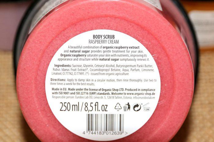 Organic Shop peeling krem malinowy skład