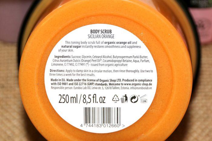 Organic Shop peeling sycylijska pomarańcza skład