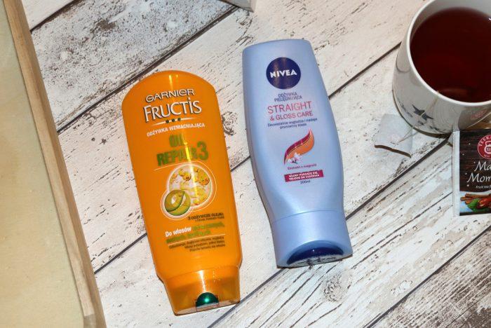 Garnier Fructis Oil Repair 3 odżywka, odżywka Nivea Straight & Gloss Care