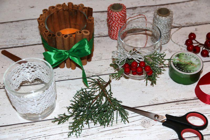 świąteczny świecznik DIY z lasek cynamonu