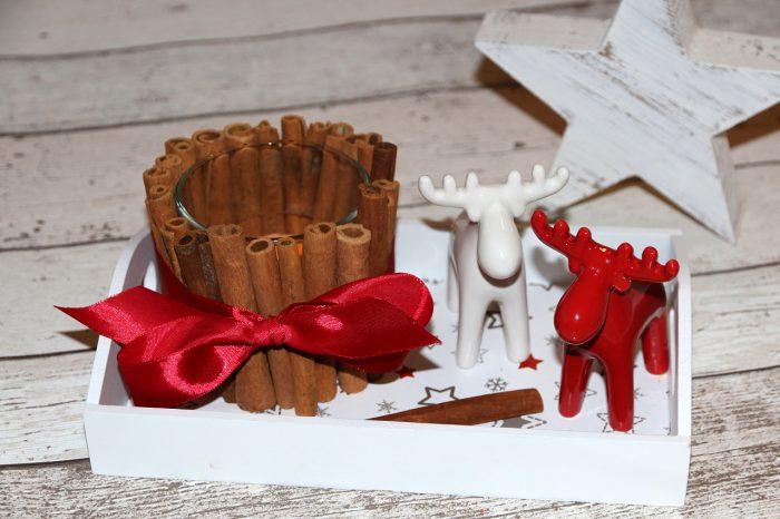 świąteczne świeczniki DIY zlasek cynamonu