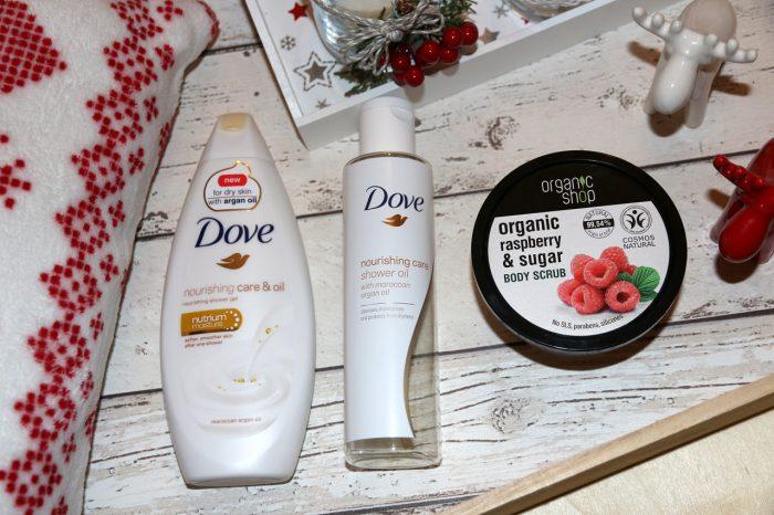żel podprysznic Dove zolejkiem arganowym, olejek domycia ciała Dove zolejkiem arganowym, scrub dociała malinowy krem Organic Shop