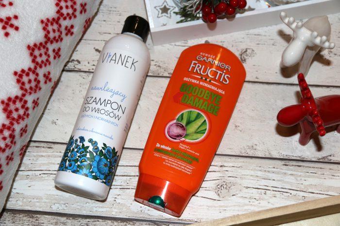 nawilżający szampon dowłosów Vianek, wzmacniająca odżywka dowłosów Garnier Fructis