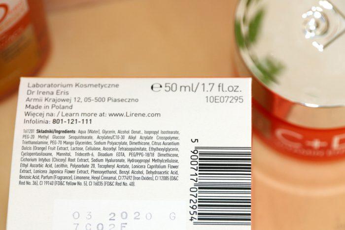 Lirene C+Dpro Vitamin Energy nawilżający krem-żel rozświetlający skład