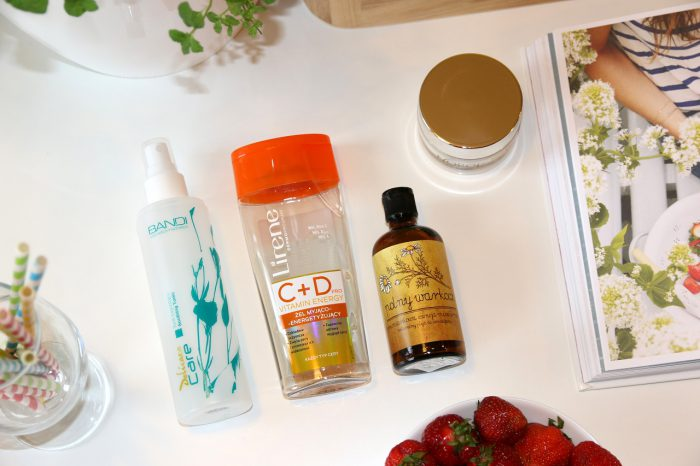 Majowe denko: tonik łagodzący Bandi, żel myjąco-energetyzujący Lirene, rumiankowa esencja micelarna Polny Warkocz, energetyzujący sorbet witaminowy Norel
