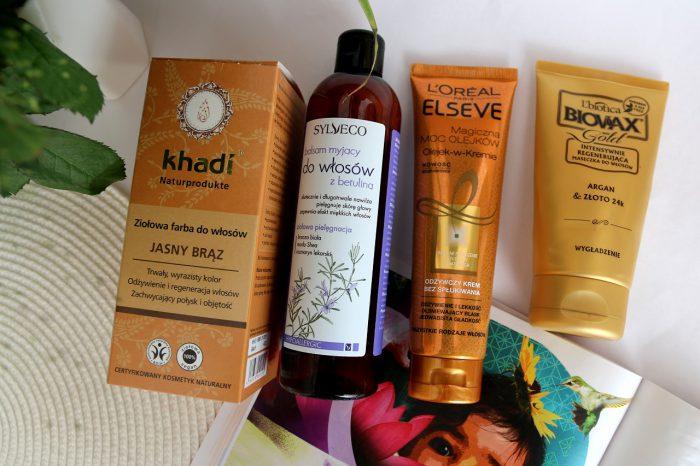 henna Khadi, szampon Sylveco, odżywka L'Oreal, maska L'biotica