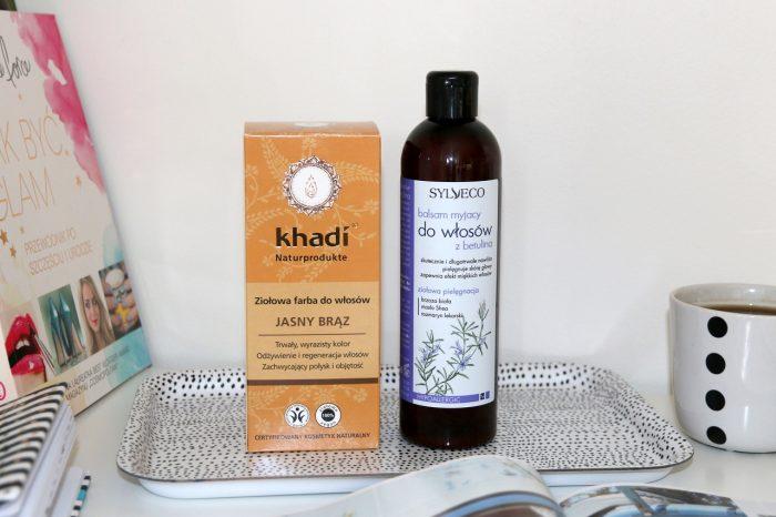 ziołowa farba dowłosów jasny brąz Khadi, balsam myjący dowłosów zbetuliną Sylveco