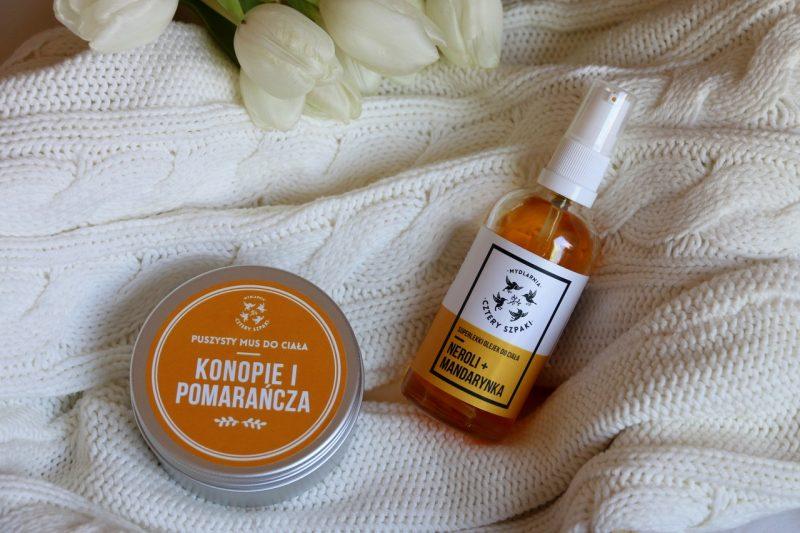 Mydlarnia Cztery Szpaki - mus do ciała konopie i pomarańcza czy superlekki olejek neroli i mandarynka