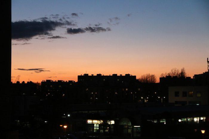 marcowy zachód słońca